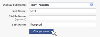 screen shot of a Facebook form, mouse cursor poised to click the 'Change Name' button